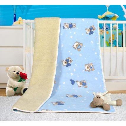 Evropské merino deka dětská bílá s modrým povrchem