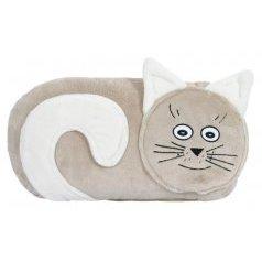 Tvarovaný polštářek kočička béžová