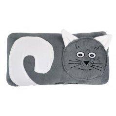 Tvarovaný polštářek kočička šedá